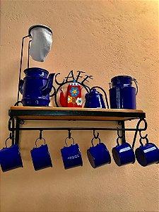Kit cantinho do café com kit bule azul em alumínio com canecas azul leiteira e açucareiro