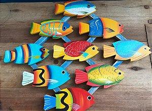 Mosaico de Peixes Colorido Artesanal