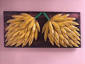 Quadro Decorativo Madeira Maciça Bananas Entalhada
