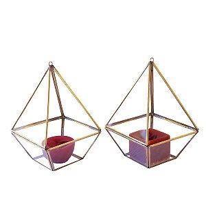 Kit 2 Luminária Marroquina Triangular - Ferro