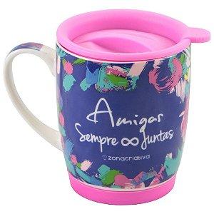 CRIATIVA CANECA COM TAMPA AMIGAS SEMPRE JUNTAS 350 ml