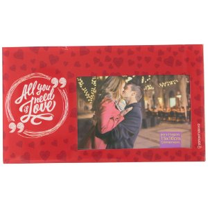CRIATIVA PORTA RETRATO DE VIDRO ALL YOU NEED IS LOVE 25X14,5 cm