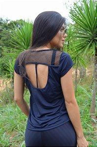 Blusa Bardot com detalhe em tela