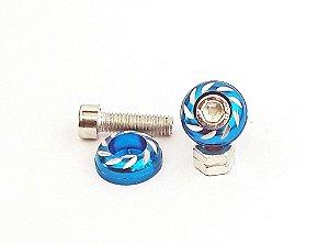 Parafuso de Placa em Alumínio para Motos - Par - Azul