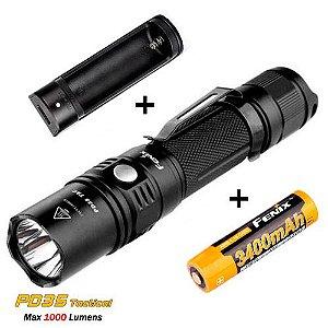 Lanterna Tática Fenix PD35 TACTICAL Pro Led Cree 1000 Lumens + Super Bateria e Carregador