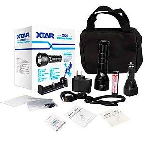 Kit Lanterna de Mergulho Foco Concentrado Xtar D06 Forte 900 Lumens + Bateria + Carregadores e Maleta