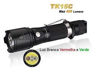 Lanterna Versátil Fenix TK15C Luz Branca Verde e Vermelha Led Phillips uso Tático Discreto ou Caça