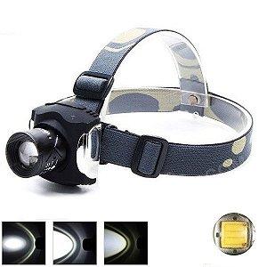 Lanterna de Cabeça Led Cree XPE Q5 de 200 Lumens 3 níveis de Luz Zoom Recarregável