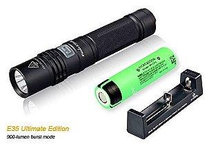 Conjunto Lanterna Fenix E35 UE Compacta Led Cree 5 Modos 900 Lumens + Bateria e Carregador
