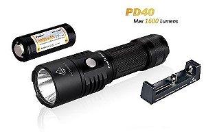 Kit Lanterna Holofote Fenix PD40 1600 lumens Led Cree branco Neutro Caça Busca e Resgate + Carregador e Bateria Potente