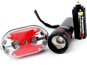 Kit Lanterna Dianteira e Traseira Led Cree SingFire Suporte Frontal para Bike 250 Lumens zoom e 3 modos