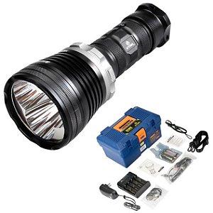Potente Lanterna Holofote de Mergulho Xtar D35 com 3  Leds Cree  e 2800 Lumens 100 metros kit Completo