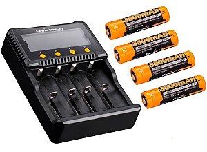Kit Carregador de Baterias 4 Slots Fenix ARE C2+ com 4 Super Baterias de Alto Desempenho 3500 mAh