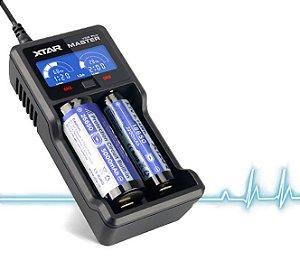Carregador Inteligente 2 canais independentes 2 Slots Xtar VC2 + Plus carrega diferentes Baterias