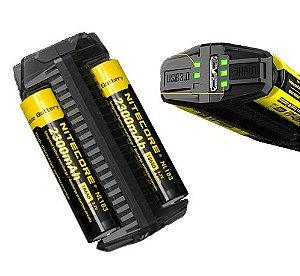 Carregador Duplo e Independente de Baterias Nitecore F2 Função Banco de Energia USB