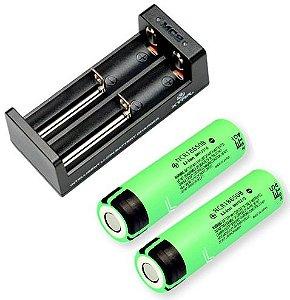 Kit Carregador com 2 Baterias Panasonic NCR18650B 18650 Protegidas Circuitos Inteligentes