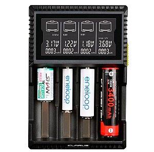 Carregador 4 canais independentes 4 Slots Klarus CH4S Inteligente diferentes Baterias