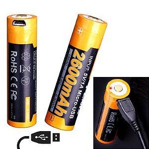 Bateria 18650 Fenix ARB L18 alto desempenho 2600 mAh recarrega USB