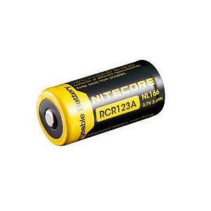 Bateria de Alto Desempenho RCR123A ou 18350 Nitecore NL166 650 mAh com Circuitos de Proteção