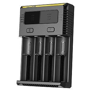 Carregador de Baterias e Pilhas Inteligente 4 Slots Canais Nitecore New i4 Recarrega Baterias Diferentes