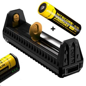 Carregador Nitecore F1 + Bateria de 2300 mAh + Função Banco de Energia USB