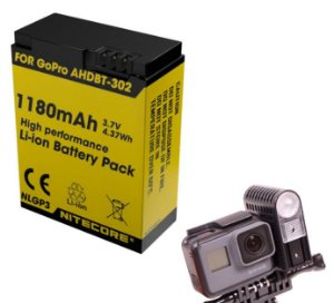 Bateria alta capacidade Nitecore NLGP3 para GoPro HERO3 ou HERO3 +
