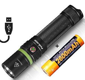 Lanterna EDC Policial Recarregável no USB Fenix UC30 1000 Lumens Led Cree + Bateria