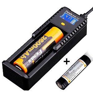 Carregador Inteligente Fenix ARE X1+ Plus + Super Bateria 2300 mAh Compatível Várias Baterias