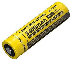 Super Bateria 18650 de alto desempenho 3400 mAh  Nitecore NL1834 Circuitos de Proteção