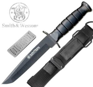 Faca Tática Militar Smith & Wesson CKSURT com Bainha Pedra e Lâmina Tanto Lisa