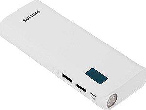 Super Carregador Portátil Powerbank duas saídas USB Philips 10000 mAh Com Lanterna Preto