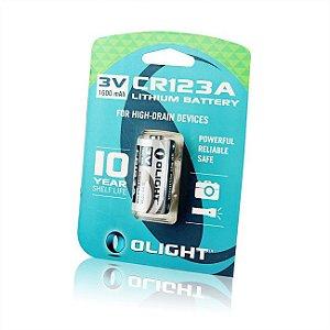 Bateria Olight CR123A 3V de Lítio de Alto Desempenho 1600 mAh