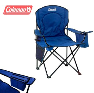 Cadeira de Praia Dobrável Coleman Quad XL Grande até 136 kg com Cooler - Azul