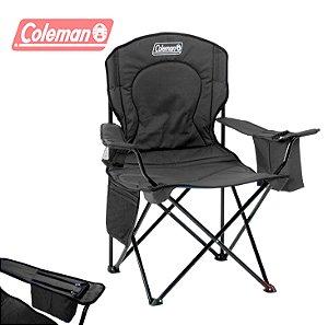 Cadeira de Praia Dobrável Coleman Quad XL Grande até 136 kg com Cooler - Preta