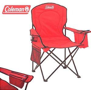 Cadeira de Praia Dobrável Coleman Quad XL Grande até 136 kg com Cooler - Vermelha