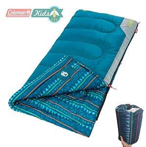 Saco de Dormir Infantil Coleman Kids 50 Azul até 10°C com Bolsa de Transporte