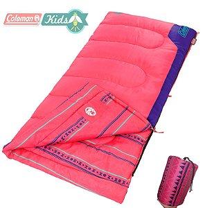 Saco de Dormir Infantil Coleman Kids 50 Rosa até 10°C com Bolsa de Transporte