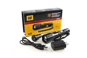 Lanterna Recarregável USB Forte Caterpillar CAT CT2415 Led de 420 Lumens Zoom Ajustável