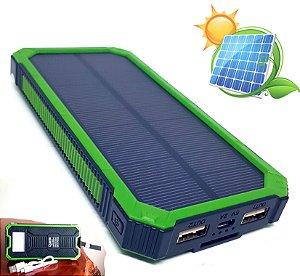 Super Carregador Energia Solar Portátil Powerbank USB Quanta 12000 mAh Com Lanterna