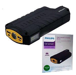 Auxiliar de Partida Portátil Veicular Philips de 400A carga de 10.000 mAh com Lanterna