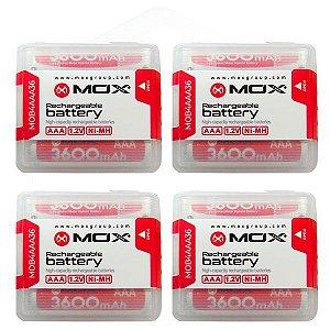 kit Pilhas Recarregáveis AAA MOX de 3.600 mAh 1.2V 16 Unidades