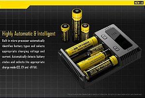 Carregador Nitecore New i4 Intelig 4 Slots Diferentes Pilhas