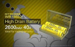 Bateria Nitecore 18650 IMR (Alta Drenagem) 40A 2600 mAh