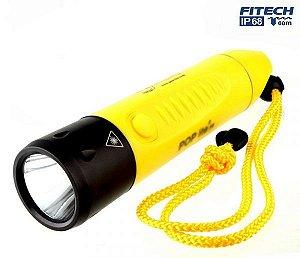 Lanterna de Mergulho Profissional Fitech IP68 F8 Led Cree Branco 600 lumens Recarregável