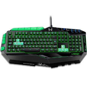 TECLADO USB GAMER PRETO/VERDE WARRIOR COM LED AJUSTAVEL TC199 - MULTILASER