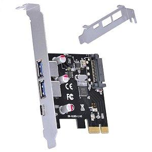 PLACA PCI-E 1X COM 2 USB 3.0 E 3.1 P2U30C31-LP - VINIK
