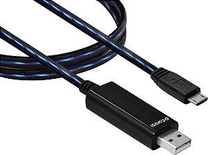 CABO USB PARA MICRO USB COM LED 80CM - PCYES