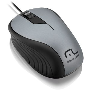 MOUSE USB WAVE EMBORRACHADO PRETO/GRAFITE MO225 - MULTILASER