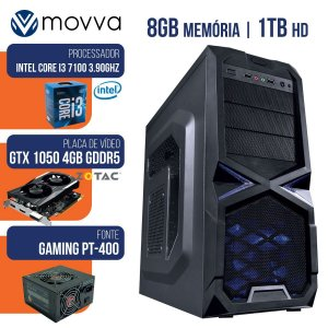 COMPUTADOR GAMER MVX3 I3 7100 8GB 1TB 1050TI 400W - MOVVA