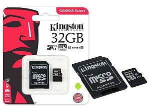 CARTÃO DE MEMORIA 32GB CLASS 10 MICROSD SDCS/32GB 80L/10E - KINGSTON